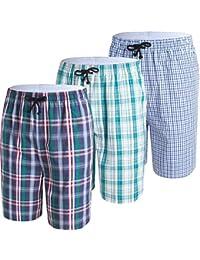 JINSHI Hombre Pijama de Algodón Salón Pantalones Cortos a ...