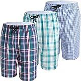 JINSHI Hommes Shorts Salon Coton Pyjama Sommeil vêtement de Nuit Couleur Claire Taille M