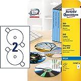 AVERY Zweckform C9780-15 DVD-Etiketten (A4, matt, 30 Etiketten, Ø 117 mm, 15 Blatt) weiß