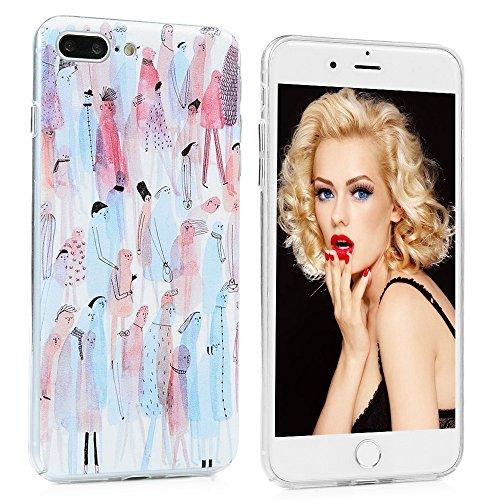 YOKIRIN iPhone 7 Hülle iphone 7 PC Hard Case Cover Bunt Painted Gemalt Transparent Rand Schutzhülle Handy Case Hartschale Skin Muster:Elefant Daumen Mann