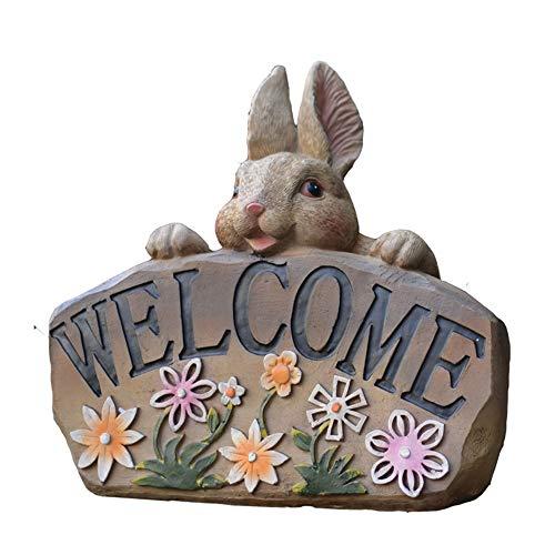 Willkommensschilder Miniatur Statue Garten Niedlichen Kaninchengarten Willkommensschild Tier Zubehör Mini Decor Figuren for Shop Villa Yard Dekoration für Häuser und Restaurants