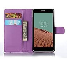 Funda Libro para LG Bello II / Bello 2, Ycloud Suave PU Leather Cuero Con Flip Cover, Cierre Magnético, Función de Soporte,Billetera Case con Tapa para Tarjetas + 1x Lápiz óptico (Púrpura)