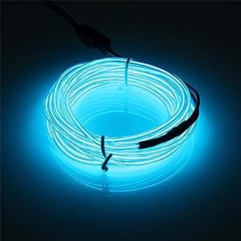 SOLMORE 5m Cavo filo flessibile Neon EL ghirlanda luminosa elettroluminescente (EL Wire) con Cassa di batteria Decorazioni per Sera, Party, Compleanno, Festa, Natale, San Valentino, Auto, Costruire blu