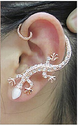 ard Gothic Punk Rock Ear Wrap Cuff Left Earring Gold by MANDI HOME (Ear Cuff Gecko)