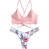 ZAFUL Costume da Bagno Bikini Intrecciato con Stampa,Reggiseno Imbottito Senza Fili, Breif a Bikini a Vita Bassa