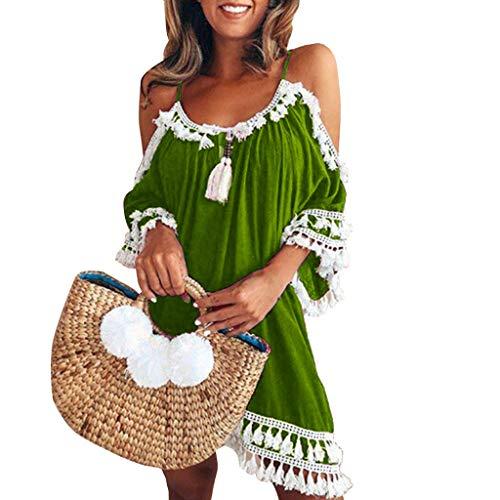 Gedruckt Wrap Kleid (Kleid Damen Kolylong® Frauen elegant aus Schulter Blumen gedruckt Kleid Minikleid Party Kleid Strandkleid Abendkleid Sommer Kurzes Kleid)