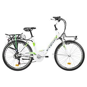 51ozlzyFiSL. SS300 Atala Citybike elettrica pedalata assistita E-Run FS Lady, Misura Unica 45cm (Statura 150-175 cm), 6 velocità, Colore Bianco Verde