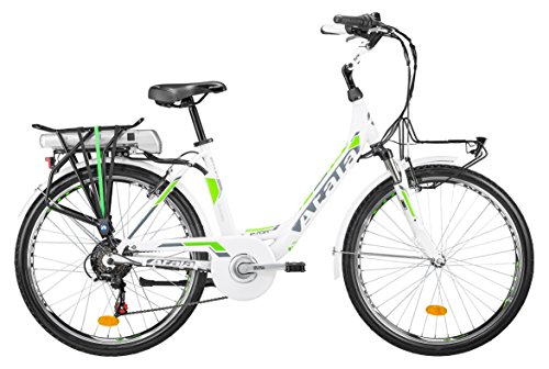 Citybike elettrica Atala con pedalata assistita E-RUN FS LADY, misura unica 45cm (statura 150 - 175 cm), 6 velocità, colore bianco verde