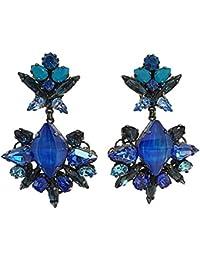 VICKISARGE Orecchini da Donna Oro Ossidato Swarovski Cristallo Blu