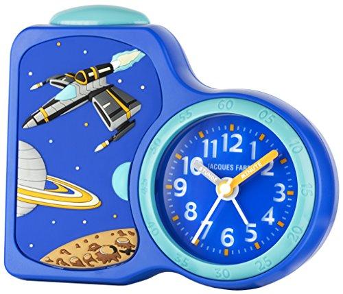 JACQUES FAREL Kinderwecker Jungen Weltraum blau ohne Ticken, mit Licht und Snooze ACB 08SPA
