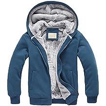 Hombre Invierno Calentar Vellón Forrado Sudaderas Con Capucha Algodón Abrigos Suave Chaquetas Outwear Tops Azul marino M