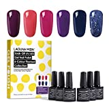 Lagunamoon Smalto in Gel UV LED, 6pcs Smalto Semipermanente per Unghie Set per Manicure - Berry naughty