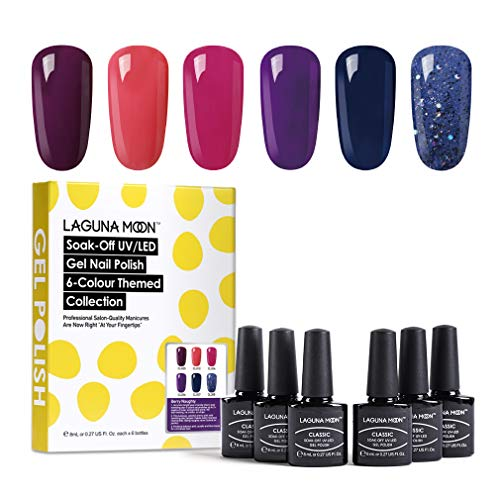 Lagunamoon UV Nagellack, Gel Nagellack UV LED 6 Farben Set für Nageldesign Gel Polish Soak off Gel Nagellack Berry naughty