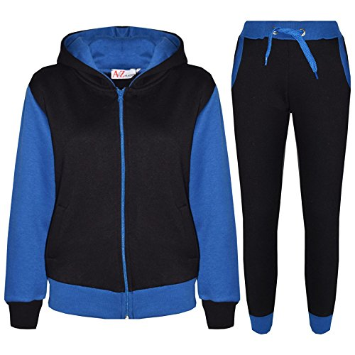 A2Z 4 Kids® Kinder Trainingsanzug Mädchen Jungen Designer Plain Kontrast - T.S Plain 101 Royal 11-12 (Set Kinder)