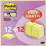 24x 76x 76mm Notes Post-it 654Super Sticky Avantage Paquet avec Lot de 24–Adhésif fort–Pack économie d'