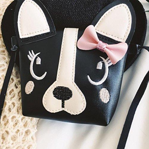 Zarupeng Bag Nette Kinder Umhängetasche Mini Messenger Handtasche Bogen Mädchen Schwarz Hund HqR4CwAH