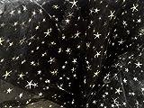 Mc-Stoff Organza STOFF schwarz Relief bedruckt Meterware Sterne