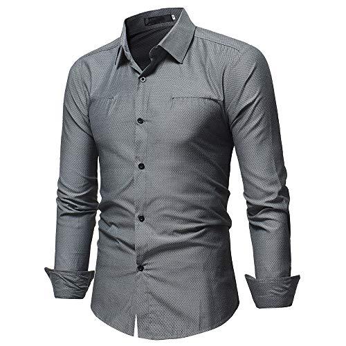 Makefortune Herrenhemden Langarm-Businesshemden für Herren Baumwollmischung Slim Fit Feste Freizeithemden, 3 Farben