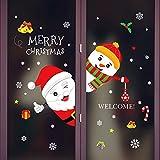 Hniunew Fensterbilder Fensterbild Weihnachts Fensteraufkleber Winter Glass Aufkleber Dekoration Fensterdeko Cartoon Santa KostüM Fensterbilder Weihnachtenweihnachten Selbstklebend Glasaufkleber
