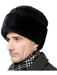OLDF Ushanka Sombrero Ruso Sombrero de Nieve de visón Falso para Hombre  Sombrero trampero de Mediana Edad Cosaco Sombrero de Invierno… fc565b5785d4