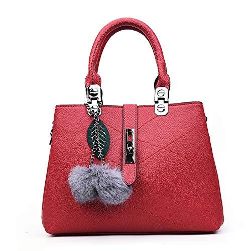FREEML2019 borsa da donna diagonale portatile con tracolla in filo di ricamo con motivo a litchi