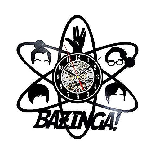 LUYION Schallplatte Wanduhr Bazinga Big Bang Theory Jahrgang Hausgemacht Startseite Skulpturen Dekor für Weihnachten Halloween Festival (Theory Bang Big Halloween The)