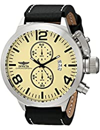 Invicta Men's Corduba Quartz Chronograph Watch 3449 with Ivory-White Dial and Black Leather Strap