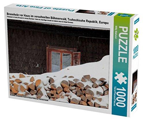 Preisvergleich Produktbild Brennholz vor Haus im verschneiten Böhmerwald, Tschechische Republik, Europa 1000 Teile Puzzle quer: schneebedecktes Feuerholz an Holzhaus im Böhmerwald, Tschechische Republik (CALVENDO Orte)