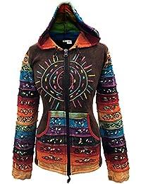 Délavéà l'acide multicolore patchwork capuche, arc-en-ciel à rayures manche hippie veste,boho