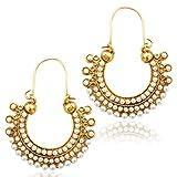 Pearl golden finish ethnic bali hoop ind...