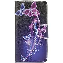 Guran® Pintado Funda de Cuero Para Alcatel OneTouch Idol 3 (5.5 pulgada) Smartphone Tirón de la Cubierta de la Función de Ranura Tarjetas y Efectivo Caso-mariposa púrpura