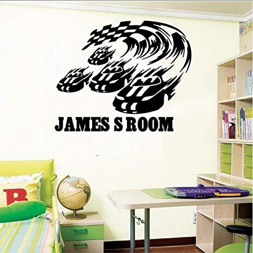 persönlichkeit racing und flag vinyl wandtattoo name racing flag home wandaufkleber junge schlafzimmer kunst dekoration 110 * 83 cm ()