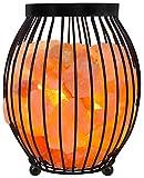 Gadgy ® Lampe en Cristal de Sel de l'Himalaya Panier Métal | 17,5x17,5x21 cm Variateur | Sculptée à la Main | Cristaux de Roche Rose | Naturelle & Thérapeutique | Lampe Table Chevet