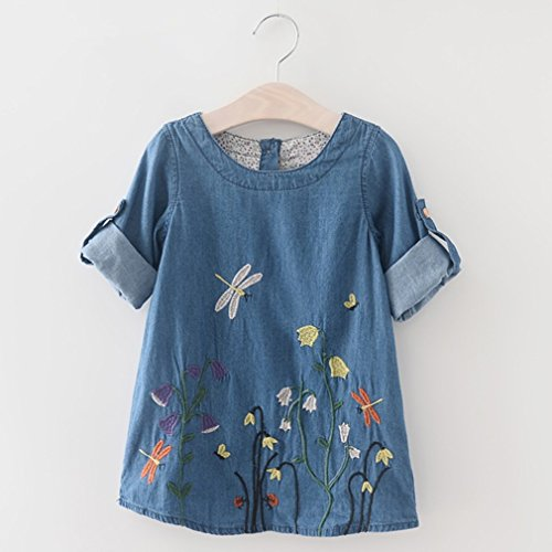 LnLyin Mädchen Blaue Stickerei Libelle Blume Kleid Mädchen Nachahmung Cowboy Kleid Blau 140cm