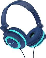 SUNNZO Kinderkopfhörer mit Gehörschutz für begrenztes 85dB Volumen, aus Material in Lebensmittelqualität, BPA-frei, verwicklungsfreies Kabel, verkabelter On-Ear-Kopfhörer für Kinder, Kleinkind sowie Baby(Blau)