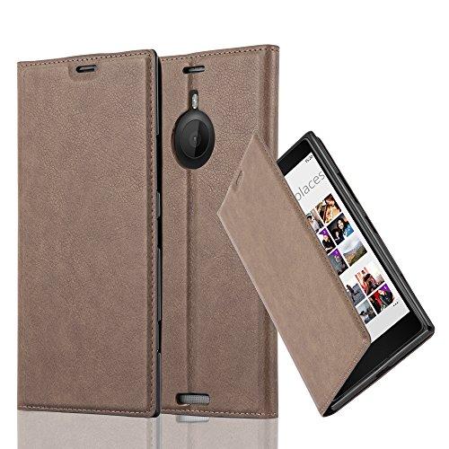 Cadorabo Hülle für Nokia Lumia 1520 - Hülle in Kaffee BRAUN – Handyhülle mit Magnetverschluss, Standfunktion und Kartenfach - Case Cover Schutzhülle Etui Tasche Book Klapp Style