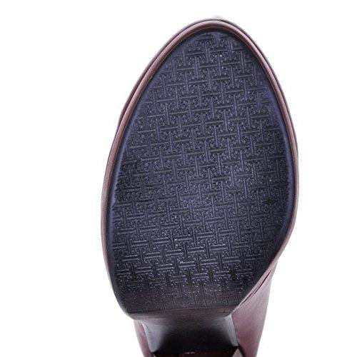 AllhqFashion Damen Hoher Absatz Blend-Materialien Rund Zehe Hoch-Spitze Stiefel Braun-Wasser Diamanten