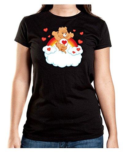 Heart Bear T-Shirt Girls Black Certified (Care Glücklichen Bear)