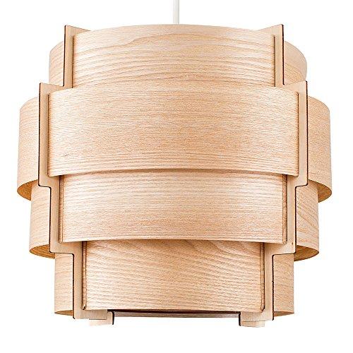 MiniSun - Hermosa pantalla para lámpara de techo 'Persia' de estilo nórdico - Vintage con tiras de madera