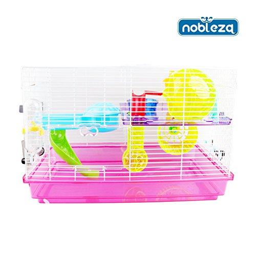 Nobleza 021369 - Jaula para roedores, color rosa con dos plataformas, tobogán y accesorios para jugar. Medidas: largo 46 cm x ancho 29,5 cm x alto 31 cm