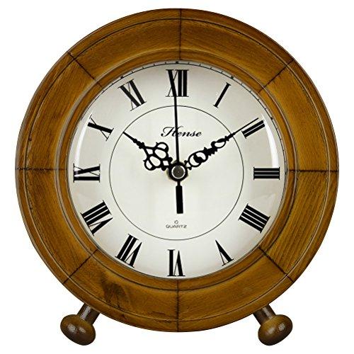 Hense Antiken römischen Ziffern Uhr aus massivem Holz Präzise geräuschlos Dämpfer Quarz Schreibtisch Uhr HD12 Brown #B (Hartholz-dampfer)