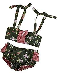 Ropa de baño,Switchali Niños Recién nacido Bebé Niña verano Top chaqueta Bragas floral moda Trajes de baño Niñas Traje de baño bikini tops + pantalones cortos Bañador