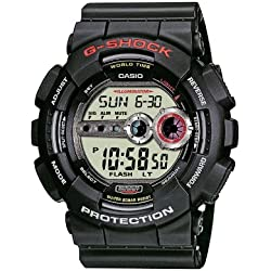 Casio G-Shock Men's Quartz Watch with LCD Dial Digital Display and Black Resin Strap GD-100-1AER