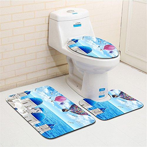 BKPH 3 Teile/Satz Sea World Badezimmermatten Sets, Badematte + Sockel Matte + Toilettensitzabdeckung Matte, D