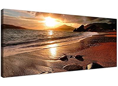 Wide Canvas Prints of a Beach Sunset for your Living Room - Modern Seaside Wall Art - 1131 - Wallfillers®