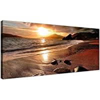 Wide Canvas Prints of a Beach Sunset for your Living Room - Modern Seaside Wall Art - 1131 - Wallfillers® by Wallfillers