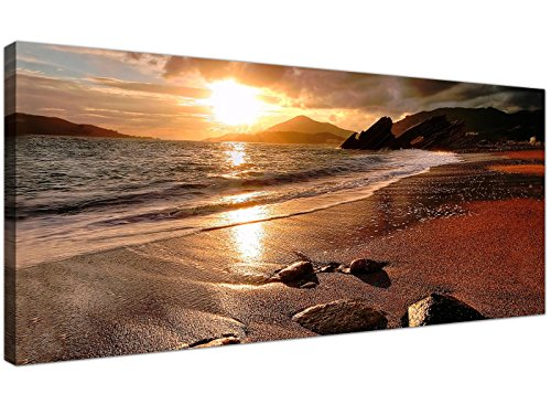 Wide Canvas Prints of a Beach Sunset for your Living Room -...