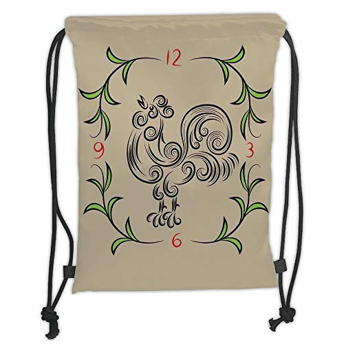 LULUZXOA Gym Bag Printed Drawstring Sack Backpacks Bags,Kitchen Decor,Rooster and Floral Art Decorative Clock Time Swirls Leaves Farm Animal Theme Decoration,Grey Green Soft Satin Farm Fresh Rooster