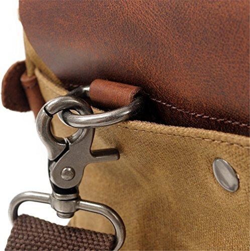Xinmaoyuan uomini borsette cera olio tela con Mad Horse Valigetta in pelle borsetta maschio retrò borsa tracolla messenger,Nero Kaki
