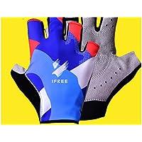 XeibD Guantes de Bicicleta de montaña de Ciclismo Protección UV de Medio Dedo Protección contra los Golpes de Verano para Hombres y Mujeres (S)